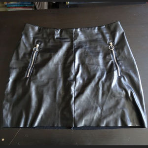 H&M Black Faux Leather Mini Wrap Skirt Zippers PU